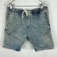 Zara Mens Shorts Medium Blue Denim Drawstring Elastic Waist Pockets Acid Wash