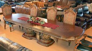 9 Piece Extension Dining Set Villa Valencia Spanish Revival Table & 8 Chairs