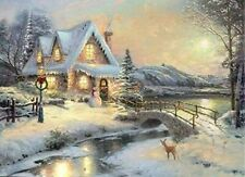 Large LED Fibre Optic Wall Picture/Canvas Christmas Winter Snow Scene 60 x 40cm