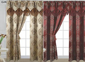 "Luxury Jacquard Curtain Panel with Attached Waterfall Valance 54"" X 84"" Alexa"