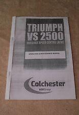 Colchester Triumph VS2500 Operating & Maintenance Lathe Manual