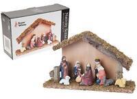 Christmas porcelain Nativity Scene Decoration 9pc Wooden Ornament stable jesus