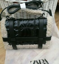 Zara Quilted Shearling Trim Handbag in Black and Cream