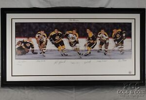 Signed Boston Bruins Bobby Orr Cheevers Lithograph Artist Madden NHL 14903