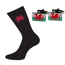 Welsh Flag Cufflinks and Socks Gift Set Wales Flag Gift X6S004-X2BOCF049
