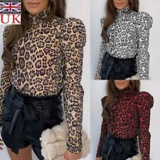 Women Puff Sleeve Leopard Print Tops Ladies Casual High Neck Slim Fit Tee Blouse