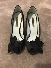 Black Satin Suede Peep Toe Shoes Size 38 Flower Pied A Terre
