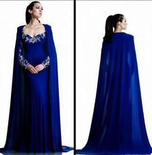 New Royal Blue Beaded Evening Dress Pageant Arabic Muslim Prom Party Gown Custom