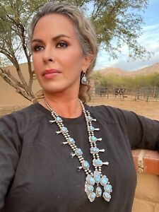 Golden Hills Turquoise  Navajo Sterling Silver Squash Set By Thomas Francisco
