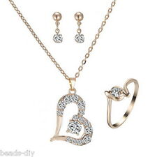 1Set BD New Fashion Gold Plated Heart Rhinestone Pendant Errings Necklace Rings
