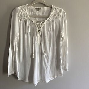 Lucky Brand Ivory  Peasant Lace Tassel Front Women's Boho Embroidered Top Size S