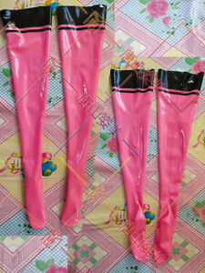 653 Pink Latex Thigh High Stockings with black trims Customized