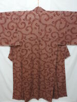 Vintage Brownish Silk Japanese KIMONO w/Arabesque N730