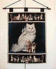 WHITE PERSIAN CAT & KITTENS ART TAPESTRY WALL HANGING LARGE/BIG SIZE PICTURE