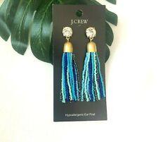 earrings J2609 blue cubic zirconia statement Nwt J Crew Colorful streamer tassel