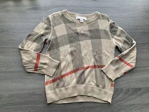 Boys Burberry Novacheck Cashmere Pullover Sweater Sweatshirt Size 4Y 4T