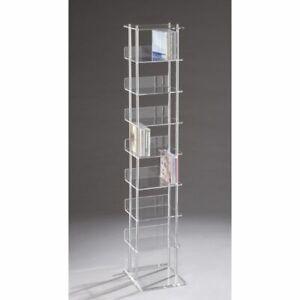Porta CD ATLANTA a colonna in plexiglass TRASPARENTE 24 x 21 x 117 cm