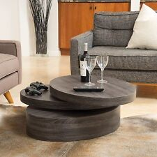 Modern Contemporary Oval Mod Rotating Wood Coffee Table