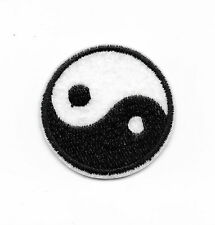 SMALL BLACK WHITE YING YANG Iron on / Sew on Patch Embroidered Badge Peace PT245