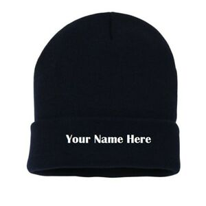 Personalised Embroidered Beanie Winter Ski Tri Hat any text or company name