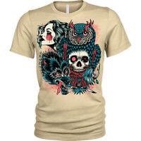 Wild Native T-Shirt tribal woman skull Unisex Mens