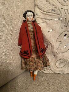 "Antique All Original 9"" German Civil War Era High Brow China Doll Orange Boots"
