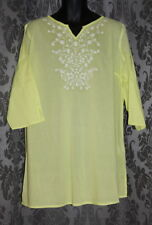 NWT Womens size 18 long yellow embroidered Kaftan made by MILLERS