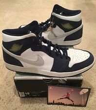 Nike Air Jordan Retro 1 + White Metallic Silver Midnight Navy Japan Size 15 2001