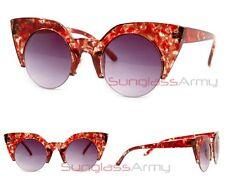 Round Cateye Sunglasses RED celebrity designer large big huge womens rockabilly