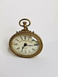 "Vintage Printania Hotel 1870 Paris Bronze Finish Wall Clock  5 × 5.5""  Works"