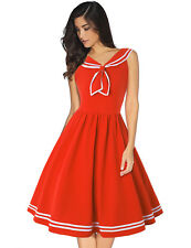 Women's Vintage 1950s Sailor Collar Rockabilly Evening Prom Nautical Swing Dress