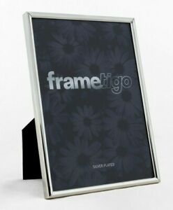 """Silver Plated Photo Frame 4x6"""" Picture Modern Thin Edge Single Gift Idea Boxed"""