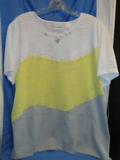 Alfred Dunner Women's Size L Santa Clara Tri-color knit short sleeve Blouse NWT
