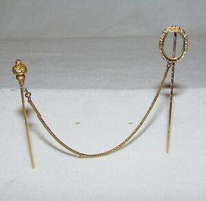 DOUBLE EPINGLE A CHAPEAU / cravate  OR  18 carats ANCIENNE  19ème siècle