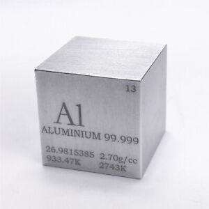 Aluminium Metal Density Cube 25.4mm 99.999% 44g for Element Collection