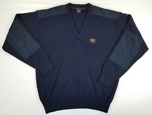 Paul & Shark Yachting Wool Blend Men's Pullover Sweater Elbow Patch Blue Italy M