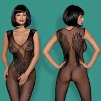 Neu OBSESSIVE Bodystocking Spitze Negligee Obsessive Catsuit schwarz HIT XL/2XL