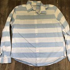 Merona Women's Light Blue White Thick Striped Long Sleeve Collar Shirt XL Cotton