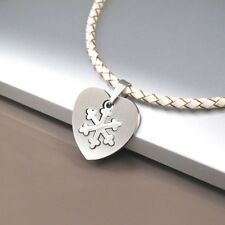 Silver Winter Love Stainless Steel Pendant Womens White Braided Leather Necklace