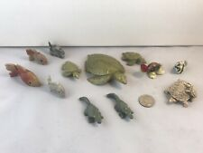 Collection Small Turtles Fish Alligators Stone Shell, Ceramic Lot Of 12 Aquarium