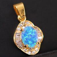 2.5 Ct Blue Australian Fire Opal White CZ Pendant Charm Jewelry 14K Gold Plated