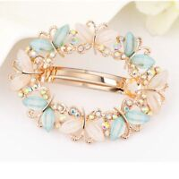 Girls Hair Clip Crystal Rhinestone Fashion Flower Barrette Clamp Hairpin