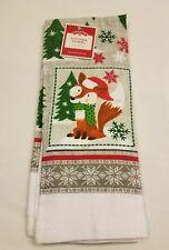 KITCHEN DISH TOWEL Red Fox Santa Hat  Gray holiday Christmas winter snowflake