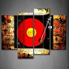 Wall Art Record In Red And Buttons Of Studio Prints Canvas Music Picture Photo