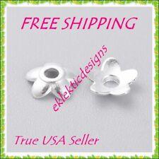 6mm 50pcs Silver Plated Alloy Tibetan 5 Petal Daisy Flower Bead Caps FREE SHIP