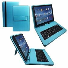 "10.1"" Quality Bluetooth Keyboard Case For Medion LifeTab P9514 - Turquoise"
