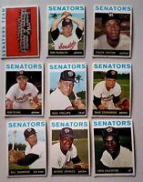 Lot of 9 1964 Topps WASHINGTON SENATORS vintage baseball cards Bill Skowron