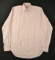 LORO PIANA Orange Pink Plaid Check Long SLeeve Button Down Collar Shirt 17 Italy
