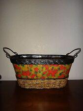 """Halloween Metal Floral Basket Metal Stamping Straw Jute 13"""" (L) x 6"""" (H) x 6""""(W)"""
