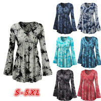 Autumn Winter Womens V Neck Flare Sleeve Tunic Tops Floral Casual Shirt Blouse